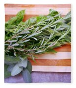 Herbs On Cutting Board Fleece Blanket