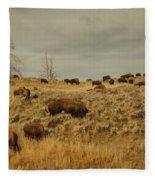 Herd Of Buffalo Fleece Blanket