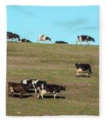 Herd Of Cows Grazing On A Hill, Point Fleece Blanket