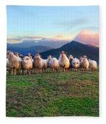 Herd Of Sheep In The Sunset Fleece Blanket