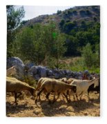 Herd Of Sheep In Tuscany Fleece Blanket