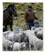 Herding Sheep Patagonia 3 Fleece Blanket