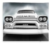 Here Comes The Sun - Gmc 100 Pickup 1958 Black And White Fleece Blanket