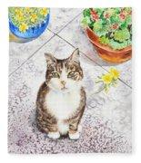 Here Kitty Kitty Kitty Fleece Blanket
