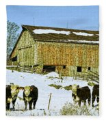 Hereford Barn Painting Fleece Blanket