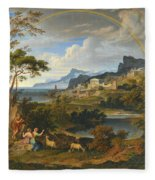 Heroic Landscape With Rainbow Fleece Blanket