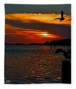 Heron And Seagull Sunset I Mlo Fleece Blanket