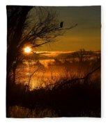 Heron At Sunrise Fleece Blanket