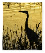Heron At Sunrise Fleece Blanket