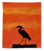 Heron - At - Sunset Fleece Blanket