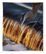 Heron Fishing At The Weir Fleece Blanket