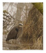 Heron In A Fog Fleece Blanket