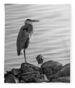 Heron In Black And White Fleece Blanket