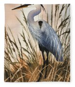 Heron In Tall Grass Fleece Blanket