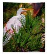 Heron In The Pines Fleece Blanket
