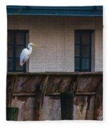 Heron In The Window Fleece Blanket