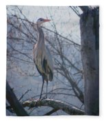 Heron Looking Out Fleece Blanket