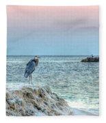 Heron On Beach Fleece Blanket