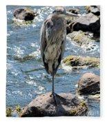 Heron On One Leg Fleece Blanket