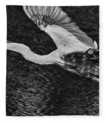 Heron On The Move Up Close Fleece Blanket