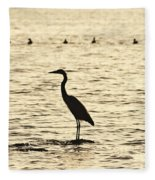 Heron Standing In Water Fleece Blanket