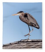 Heron Up On The Roof Fleece Blanket