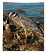 Heron With Crab Fleece Blanket