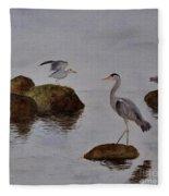 Herons On Water Fleece Blanket