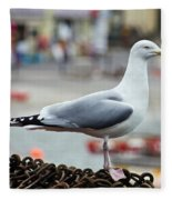 Herring Gull At The Harbour Fleece Blanket