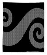 Herringbone Swirl On Black Fleece Blanket