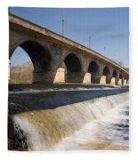 Hexham Bridge And Weir Fleece Blanket