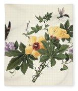 Hibiscus And Butterfly Fleece Blanket