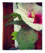Hibiscus Flower In Bloom Fleece Blanket
