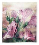 Hibiscus Sky - Pastel Pink Tones Fleece Blanket