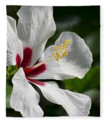Hibiscus White Wings Fleece Blanket