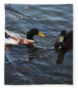 Hibred Ducks Swimming In Beech Fork Lake Fleece Blanket