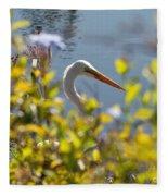 Hiding Egret Fleece Blanket