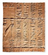 Hieroglyphs In The Temple Of Kalabsha  Fleece Blanket