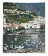 High Angle View Of A Town, Amalfi Fleece Blanket