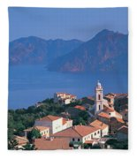 High Angle View Of A Town At The Coast Fleece Blanket
