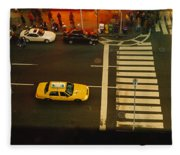 High Angle View Of Cars At A Zebra Fleece Blanket
