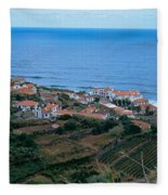 High Angle View Of Houses At A Coast Fleece Blanket