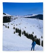 High Angle View Of Skiers Skiing, Vail Fleece Blanket