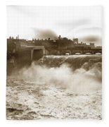 High Falls On The Genesee River Rochester New York At Flood Stage Circa 1904 Fleece Blanket