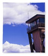 High Section View Of Railroad Tower Fleece Blanket