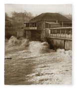 High Tide And Big Waves At Lovers Point Beach Pacific Grove California Circa 1907 Fleece Blanket