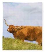 Highland Cow Watercolour Fleece Blanket