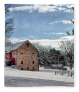 Highland Farms In The Snow Fleece Blanket