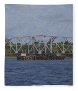 Highway 41 Swing Bridge Over The Wando River Fleece Blanket