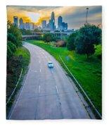 Highway Traffic Near A Big City Fleece Blanket